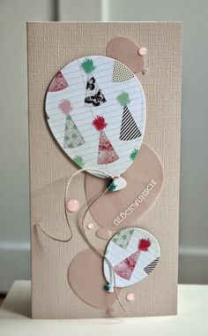 celebrationn card from Blütenstempel ... neutrals ... tall and thin format ... die cut balloons in various sizes ... enamel dots ...