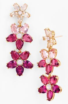 kate spade new york 'ombré bouquet' linear crystal earrings Kate Spade Earrings, Cute Earrings, Heart Earrings, Crystal Earrings, Pink Earrings, Beautiful Earrings, Drop Earrings, Nordstrom, Pink Jewelry