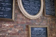 Chalkboards on brick wall...makes me miss Portland, and home, for some reason.  I guess because of all the great coffee shops with this look!
