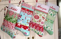 PERSONALIZED Christmas  Stockings-Set of 4  Patchwork-RED AQUA green -Trees-ornaments-Free personalized by Bagzgirl on Etsy