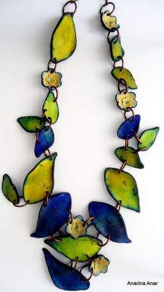 Polymer clay necklace by AnarinaAnar on Etsy--I know this is polymer but doing something like this in enamel would be wonderful!