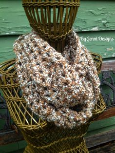 By Jenni Designs: Free Crochet Pattern: 2 Strand Homespun Infinity Scarf