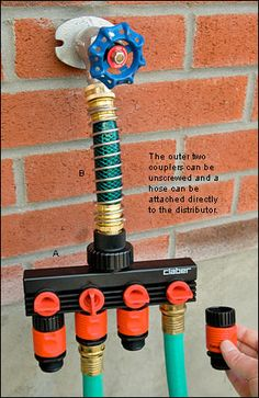 This Italian-made water manifold is made from rugged ABS plastic – it will never corrode or seize up. Four independent outlets supply water to hoses, sprinklers or irrigation systems from a single faucet and each outlet has an easy-to-turn flow-control knob. All outlets have quick-connect couplers to let you switch o