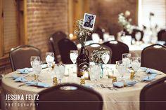Mill Top Wedding, Indianapolis Wedding Photographer, urban wedding, beer themed wedding, brewery wedding, postcards as wedding centerpieces, blue and champagne wedding