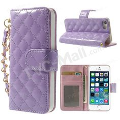 Handbag Style Rhombus Glossy Leather Flip Wallet Stand Case for iPhone 5s 5 - Purple