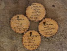 Original harry potter coasters. SET of FOUR, these coasters are made from ash wood and contain a unique harry potter design that any lovers