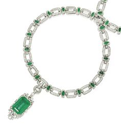 PLATINUM, EMERALD AND DIAMOND NECKLACE/BRACELET/BROOCH COMBINATION.  The necklace comprised of open links pavé-set with single and rose-cut diamonds accented by oval cabochon emeralds length 27½ inches, converts into four bracelets lengths with additional clasp fitting, supporting a pendant set with an emerald-cut emerald approx. 46 carats.