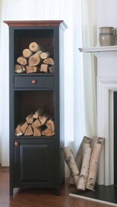 Introducing the first Chimney Cabinet especially designed for firewood storage!   The Appalachian includes a drawer for matches and space for kindling wood and more.  pinterest.com/fireflycabinet