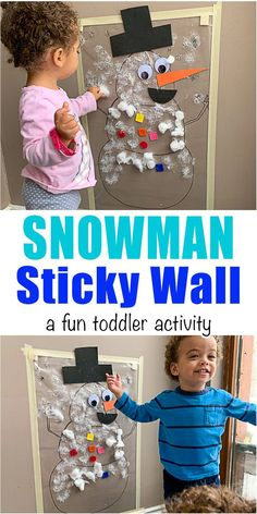 Snowman Sticky Wall - HAPPY TODDLER PLAYTIME Create a fun and easy snowman sticky wall for your toddler or preschooler! It's a great fine motor winter holiday activity! #winteractivity #christmasactivity #kidsactivity