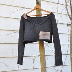 Boho Ernte Pullover in anthrazit mit japanischen Boro Sepia Patch/Upcycled Bekleidung/Damen Pullover
