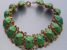 Bracelet of real scarab beetles
