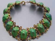 Bracelet of real scarab beetles