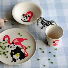 Bio Kinder Geschirr Hungry Kids Flamingo - Kindergeschirr