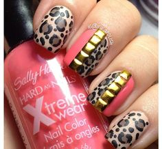 Cheetah and coral mani with gold studs