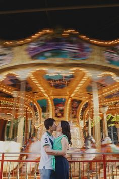 Carousel engagement photo in Miami by kalialily.com
