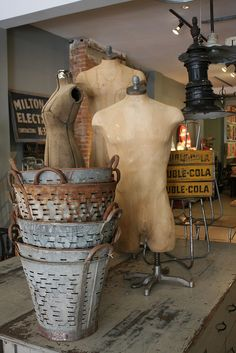 Antique Wire Harvest Basket by AtticAtRedTopRanch Dress Form Mannequin, Vintage Mannequin, Galvanized Buckets, Metal Buckets, Metal Containers, Olive Bucket, Harvest Basket, Industrial Chic, Industrial Design