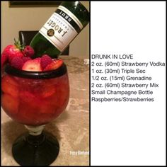 Drunk In Love | Tipsy Bartender Mix Drinks, Party Drinks, Cocktail Drinks, Yummy Drinks, Cocktails, Blackberry Whiskey, Drink Recipes, Cooking Recipes, Cocktail