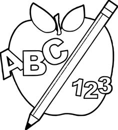 Cool School Back To Abc Apple And Pencil Teach Coloring Page