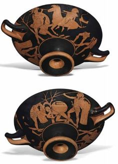 An Attic Red-Figured Kylix attributed to the Pistoxenos Painter, c. 480-460 B.C. Diameter including handles 37 cm. http://www.christies.com/SALE 10373 LOT 94
