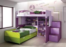 Escalier en mélaminé violet et rose 3 tiroirs pour lit mezzanine