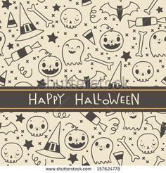 Vector halloween seamless pattern. Cartoon sculls and pumpkins. Halloween elements for scrap-booking. Hand drawn vector illustration.  by mo...