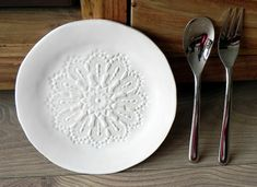 Hey, I found this really awesome Etsy listing at https://www.etsy.com/listing/199654011/rustic-ceramic-plate-white-lace-dessert