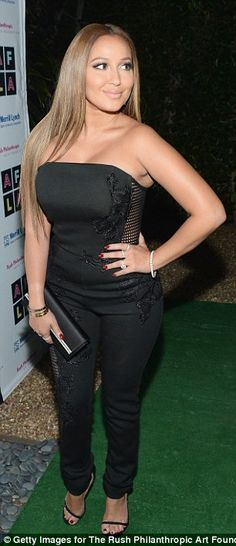 2c93d1d8461 Adrienne Bailon wears risque ensemble at Russell Simmons  fundraiser