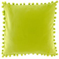 Pom pom lime green cotton cushion - 100% cotton - Cotton pom pom trim - Poly fill padding - Size 45cm x 45cm - Handwash with care so you don't damage the pom pom trim - Unsuitable for a machine wash - Matching items available