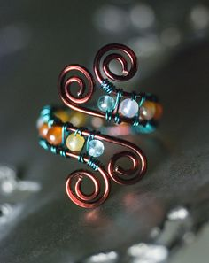 Agate and Apatite Aqua Bronze Copper Spiral Ring by Moss & Mist Jewelry by Moss & Mist Jewelry, via Flickr
