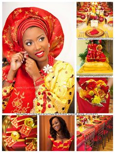 Nigerian wedding: Mustard Yellow & Red color Combination