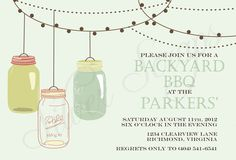 Vintage Hanging Mason Jars- Custom Backyard Summer BBQ, Birthday, Housewarming, Garden Party Invitation - Aqua, Pink, Teal, Green -5 Designs. $15.00, via Etsy.