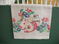 Hand Embroidered Kitchen Towel. $5.00, via Etsy.