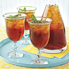 Mint Iced Tea    Cost per serving: 52¢    Guests will be impressed with this refreshing Mint Iced Tea recipe. For a stronger flavor, make extra tea and freeze in an ice-cube tray. Serve the tea with the tea ice.