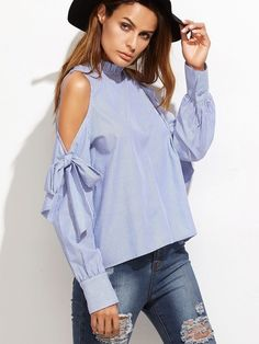 Stripped Cold Shoulder Lace-Up Blouse