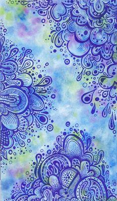 Hmmm. Zentangling on watercolored paper?