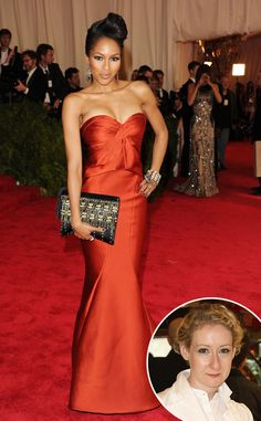 Alicia Quarles from Met Gala Arrival Photos Red hot! News correspondent stuns in a Zac Posen dress and jewels by Deborah Pagani. Fabulous Dresses, Beautiful Dresses, Nice Dresses, Formal Dresses, Formal Wear, Zac Posen, Orange Dress, Dress Red, Red Gowns