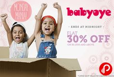 Babyoye Monday Mania offers Flat 30% off on Rs.1500 and above. Maximum Discount Rs.500. Offer not valid on diapers, feeding bottles, infant food and discounted products. Babyoye Coupon Code – MON30  http://www.paisebachaoindia.com/get-flat-30-off-on-all-products-monday-mania-babyoye/