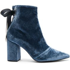 self-portrait x Robert Clergerie Velvet Karlit Boots (16.180 RUB) ❤ liked on Polyvore featuring shoes, boots, ankle booties, blue, ankle boots, booties, short high heel boots, blue ankle boots, high heel boots and velvet ankle boots