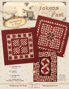 Tokens of the Past: Gathering In Red from Heartspun Quilts by Pam Buda. Primitive Quilts, Small Quilts, Mini Quilts, Two Color Quilts, Fat Quarter Quilt, Red And White Quilts, Sewing Circles, Miniature Quilts, Doll Quilt