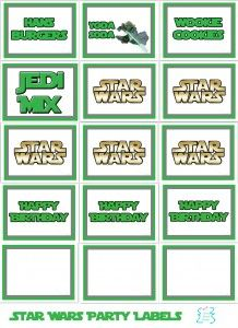 Free Star wars food party labels