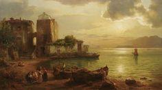 August Wilhelm Leu: Capri. Buntes Treiben in einer von der Abendsonne beschienenen Bucht aus unserer Rubrik: Gemälde des 19. Jahrhunderts