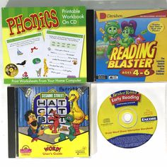 3 Early Reading Games Phonics Workbook  PC CD's Win Mac Reader Rabbit Sesame St #MiscBrands