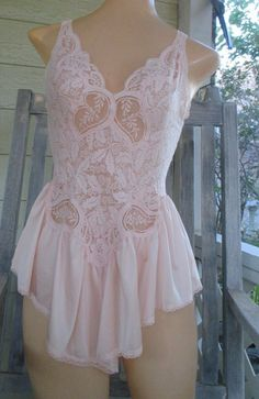 Items similar to Vintage Olga Teddie Skirted Teddy Pink Ruffly Romper  bodyhug Spandex blend Top Small Med Gorgeous Lace 90060 on Etsy d5d4ad3ba