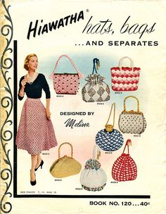#Vintage Knitting fashion style color illustration purse skirt shirt black pink red blue yellow grey 50s print ad