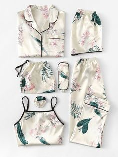 Shop Floral Print Cami Pajama Set With Shirt online. SheIn offers Floral Print Cami Pajama Set With Shirt & more to fit your fashionable needs. Satin Pyjama Set, Satin Pajamas, Pajama Set, Pyjamas Silk, Silk Pjs, Cute Sleepwear, Loungewear, Sleepwear Women, Pijamas Women