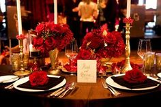 Wedding, Reception, Red, Gold