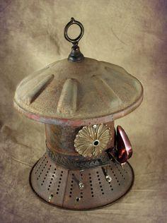 "Birdhouse, Metal Birdhouse, Reclaimed Objects Birdhouse, Handcrafted, Garden Art, ""Pink & Gold"".  #wm"