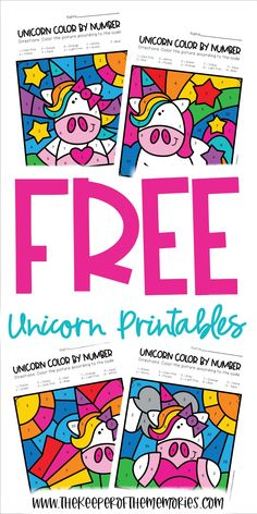 These Free Color by Number Unicorn Printables are perfect for adding some rainbow unicorn fun to your next preschool or kindergarten lesson. Download yours today!#unicorn #colorbynumber #colorbycode #preschool #kindergarten #finemotor #numbers #coloring Sensory Activities Toddlers, Preschool Themes, Kids Learning Activities, Preschool Art, Toddler Preschool, Teaching Resources, Diy Crafts For Kids Easy, Craft Projects For Kids, Diy Projects
