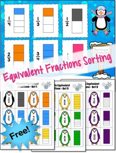 Equivalent Penguin Fractions Sorting - Awesome freebie for subscribers to Candler's Classroom Connections newsletter! Sign up from this page and follow the links in the welcome email to download this free 10-page activity pack!