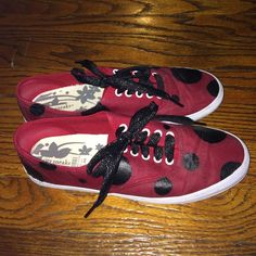 Hand painted sneakers Red ked-style sneaker painted with black circles to look like ladybugs. Sparkly black laces. Worn twice. Treated with a varnish to keep the paint on. Shoes Sneakers